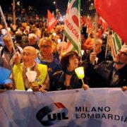 Manifestazione cgil-cisl-uil in corso Venezia