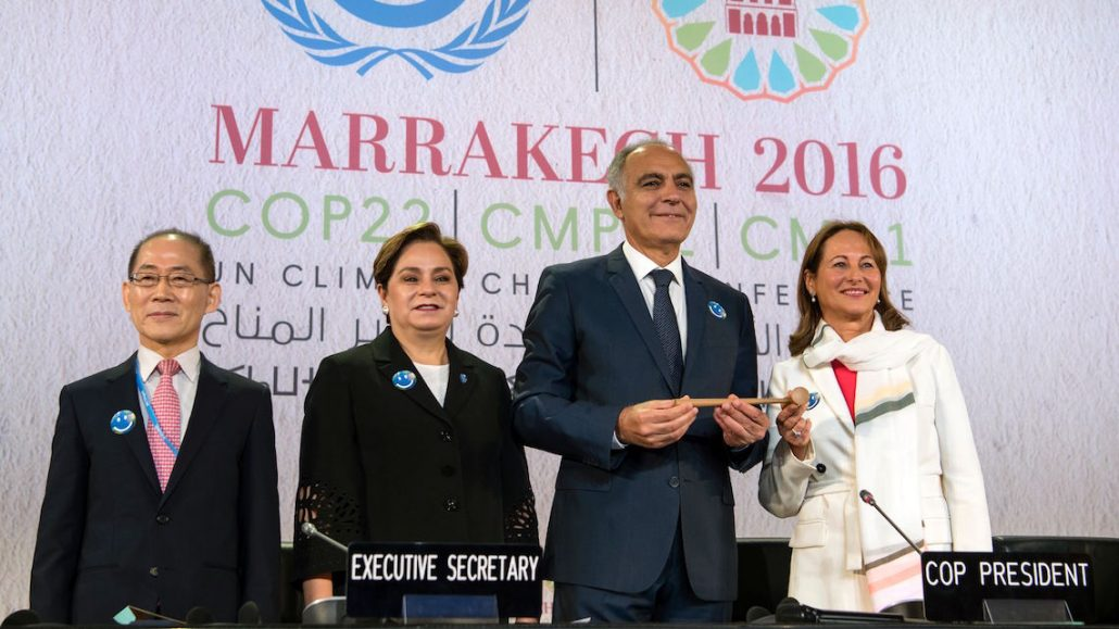 Hoesung Lee (L), chair of the Intergovernmental Panel on Climate Change, UN climate chief Patricia Espinosa (2nd-L), COP22 president Salaheddine Mezouar (C) and French Environment Minister Segolene Royal (R) attend the opening session of the COP22 climate talks in Marrakesh on November 7, 2016. UN talks to implement the landmark Paris climate pact opened in Marrakesh, buoyed by gathering momentum but threatened by the spectre of climate change denier Donald Trump in the White House. / AFP / FADEL SENNA (Photo credit should read FADEL SENNA/AFP/Getty Images)